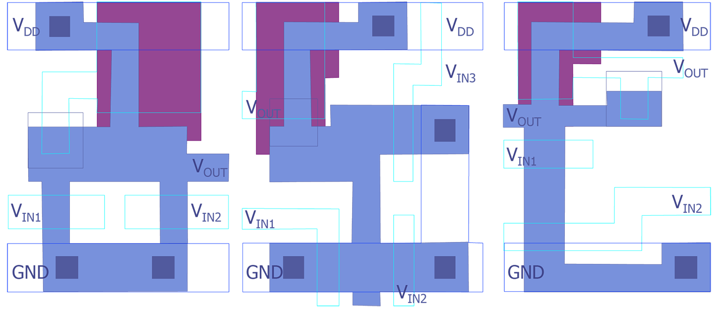 Device Recognition Semitracks Circuit Diagram Using Nand Gate Figure 10b Center A Three Input Nmos Nor Composite Layout After Maly 10c Right An